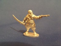 Barbary Pirate with Pistol and Scimitar in Skull Cap