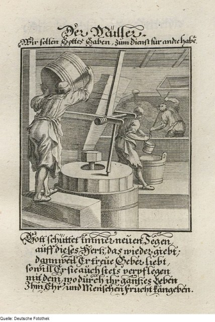 This early 18th century German illustration of a mill shows the workers pouring grain into a hopper to ground between two stones.