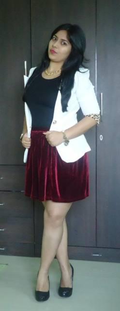 OOTD: White Blazer, Oxblood Skirt