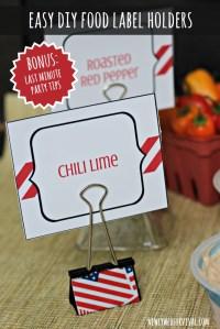 Easy DIY Food Label Holders + Last Minute Party Tips