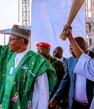 Buhari and Tinubu at the Osun APC rally