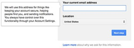 Introducing current address creating Gmail