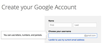 Create username for Gmail