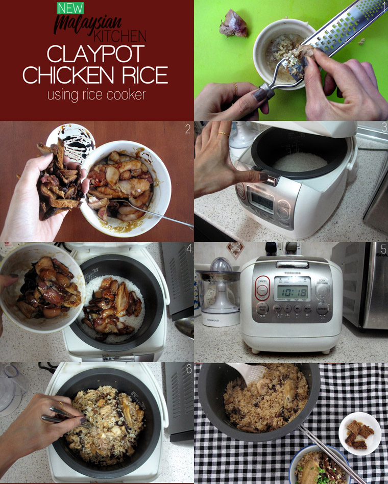 easy claypot chicken rice in rice cooker - new malaysian kitchen
