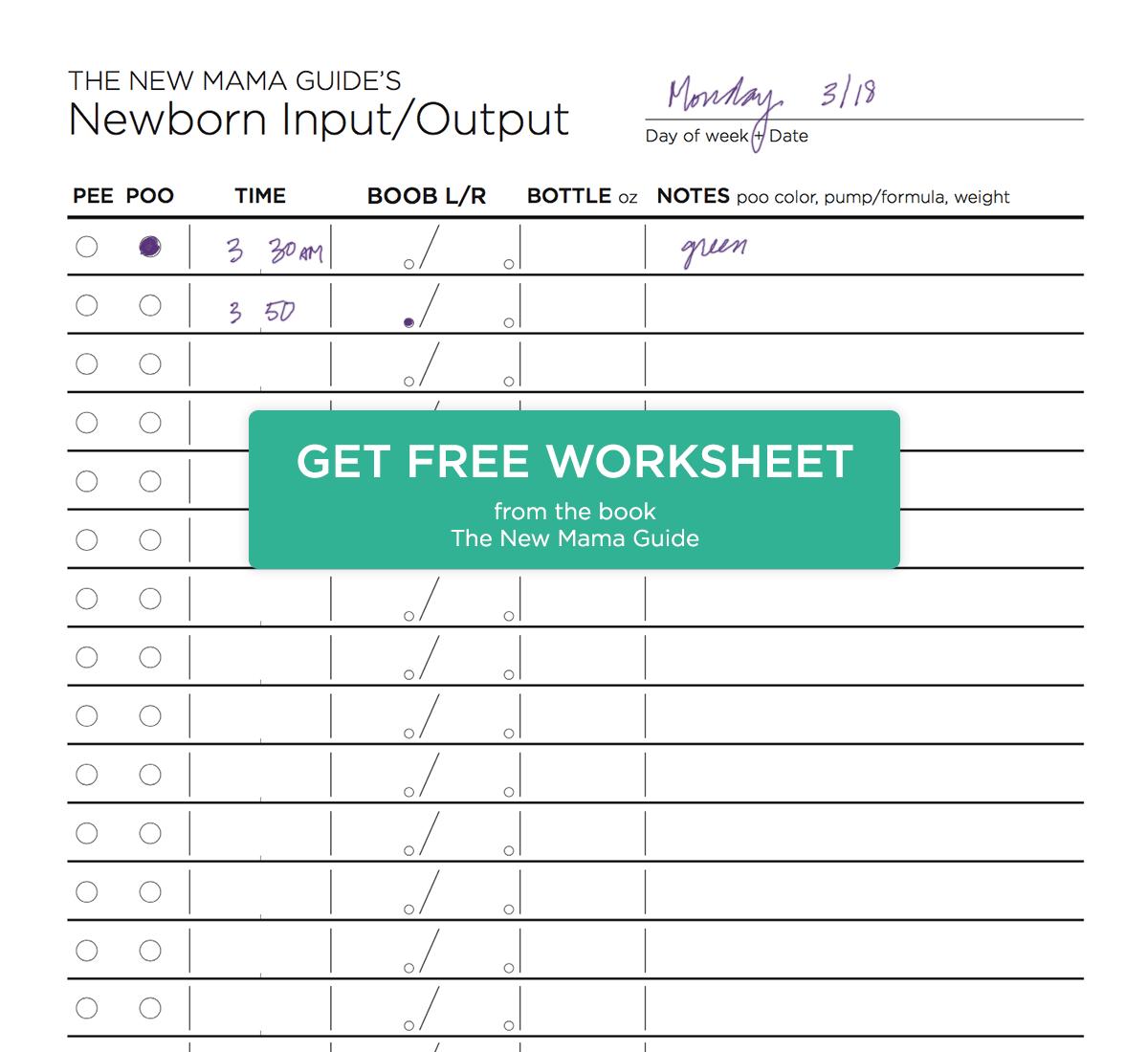 Newborn Input Output Worksheet New Mama Guide