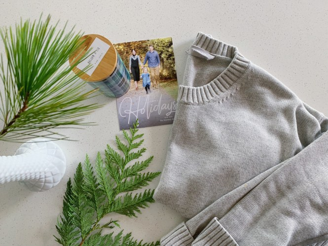 Everlane sweater, holiday cards