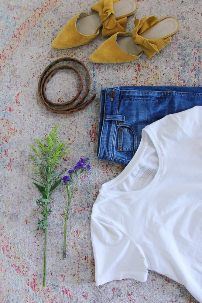 organic basics, summer style, white tee style, denim skirt style, j.crew denim skirt, updated jeans and a tee, mango bow mule, secondhand style