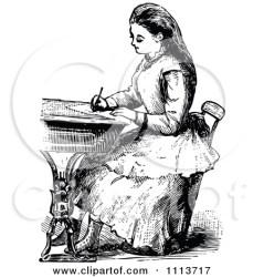 victorian writing clipart desk poem clip woman write fibonacci books poster prawny cartoon illustration royalty poetry hand vector illustrations fib