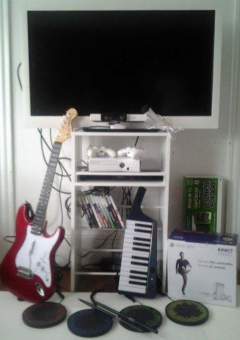 Xbox by Microsoft with Rockband by Harmonix