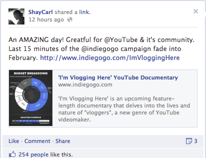 Screen shot 2013 02 01 at 12.04.38 PM Shay Carl Raises Over $200K As Im Vlogging Here Indiegogo Campaigns Ends