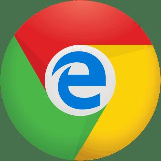 The Microsoft Edge blue E logo inside the Google Chrome logo