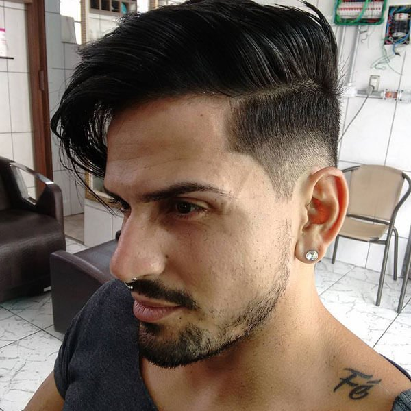 Long Comb Over Hairstyle + Low Fade