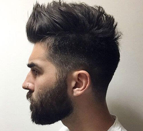 Mid Fade with Thick Faux Hawk and Short Full Beard style
