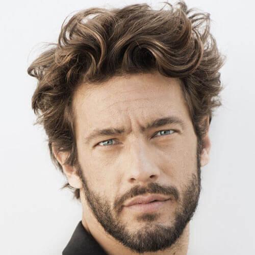 Messy Medium Hair + Short Beard style