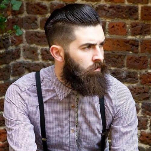 Slicked Back Undercut + Long Unkempt Beard Style