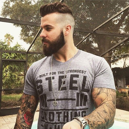 Shaved Sides + Textured Hair + Cool Beard Shape