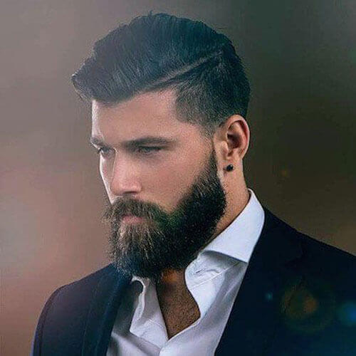 Low Fade + Thick Comb Over + Fuller Beard Style