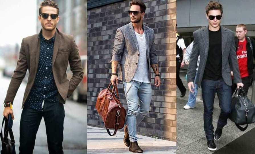 Dark Grey Blazer With Jeans For Men