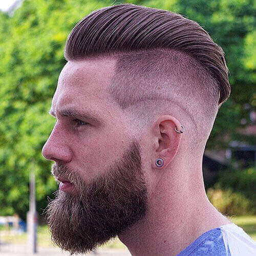 Slicked Back Undercut + Full Beard