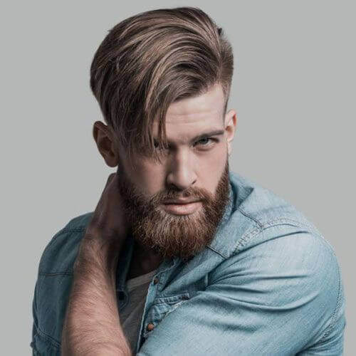 Side-Swept Long Hair with Undercut + Beard