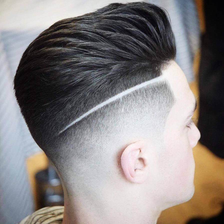 Medium Length Hair Fade Haircut