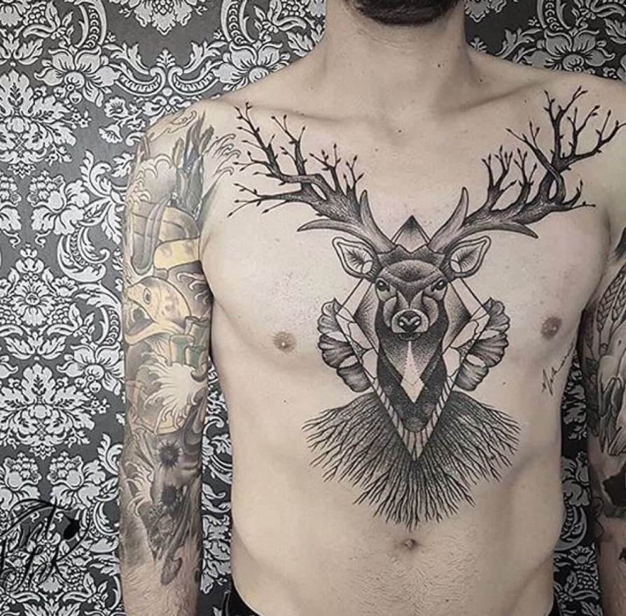 deer tattoo on chest-46