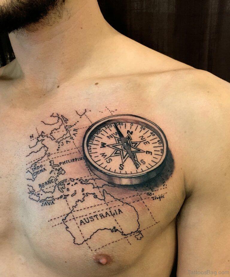 world map compass tattoo design-56