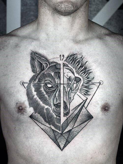 half wolf half skull guys-geometric middle of chest tattoo ideas-63