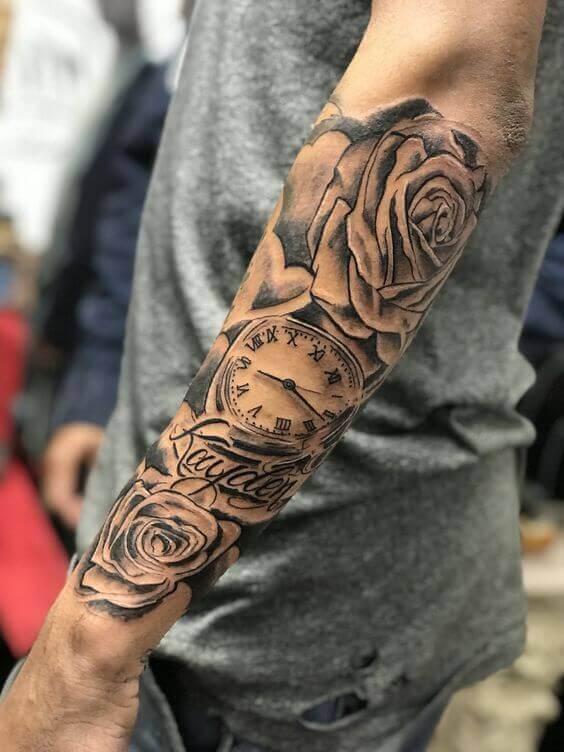 angel and roses sleeve tattoo