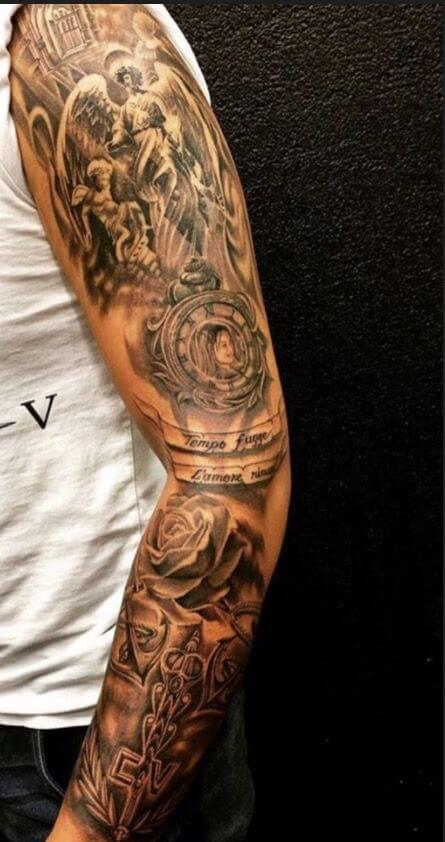 angel and rose sleeve tattoo