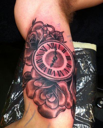 clock tattoo designs for men arm