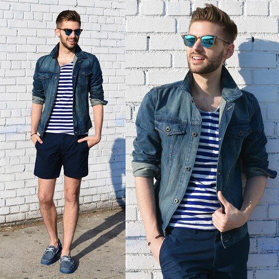 denim shirt with shorts men