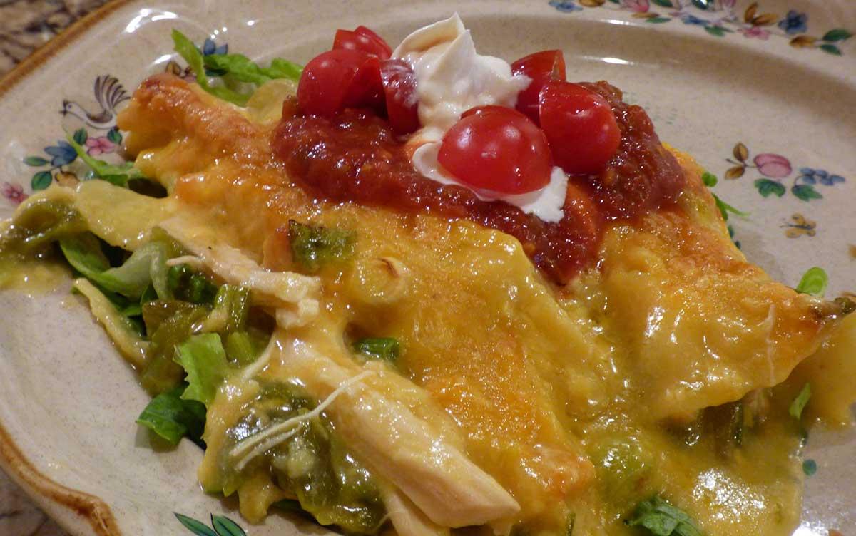 New Mexico Nomad Recipes Green Chile Chicken Enchilada Casserole