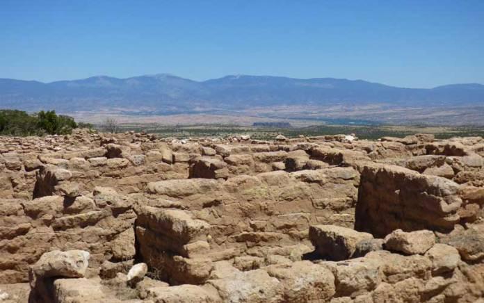 Adobe walls on top of the mesa at Puye