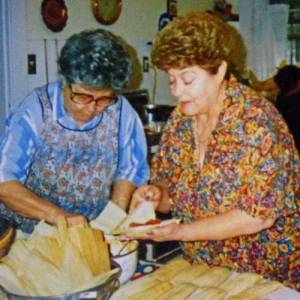 Frances Atencio making tamales for Christmas