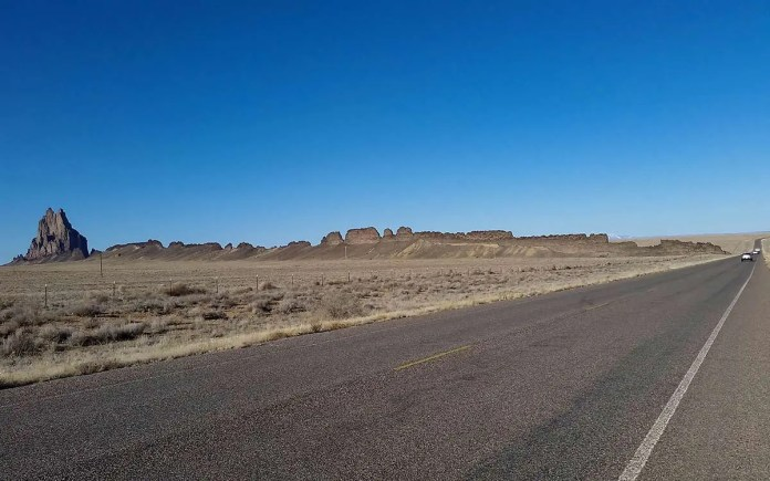 Road going east south of Shiprock