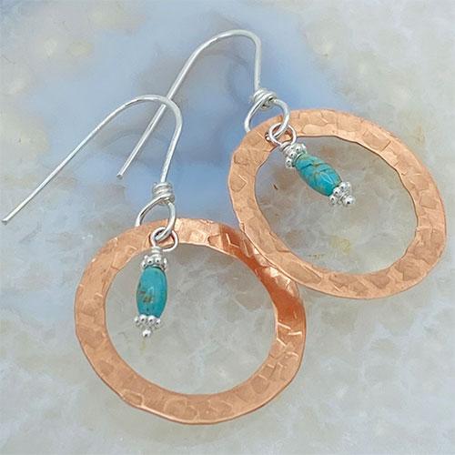 copper hoop turquoise earrings