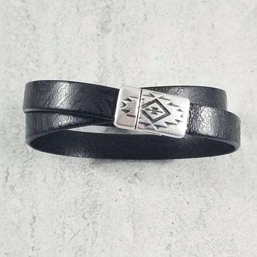 Black double wrap paisley bracelet