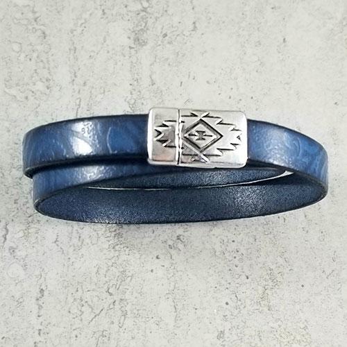 Blue double wrap paisley bracelet