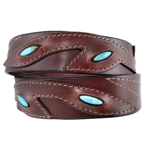 turquoise stone overlay leather belt brown
