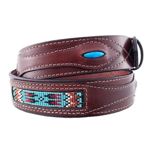 Native American Navajo Beadwork belt with turquoise brown