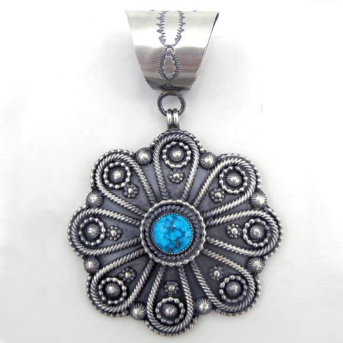 Brushed Sterling Silver Applique and Turquoise Pendant