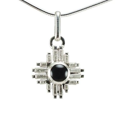 Small onyx zia pendant from Jack Boglioli's New Mexico collection