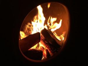 Our cozy chimenea last evening.