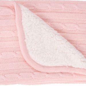 Κουβέρτα Αγκαλιάς  Διπλής Όψης Knitted Sherpa Light Pink 75/100cm Kikkaboo