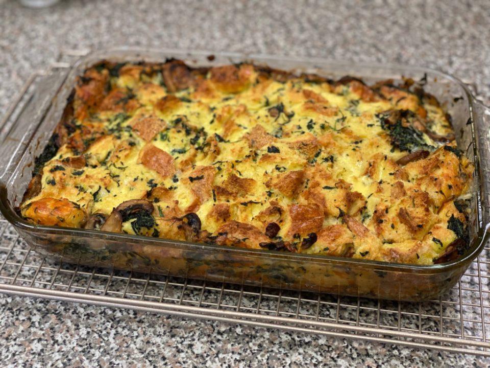 Casserole dish - spinach strata