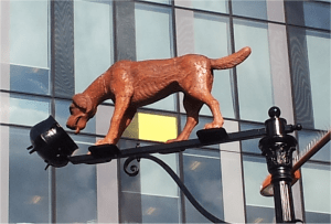 Dog on a lamppost
