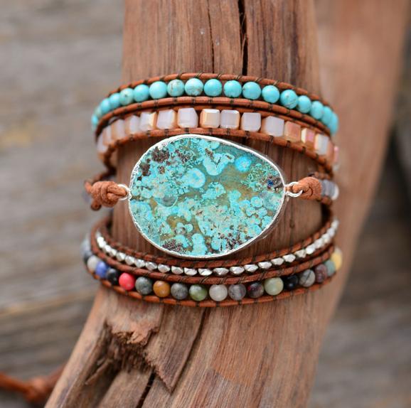 bracelet jaspe et pierre naturelle plusieurs tours wrap