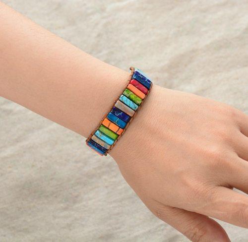 bracelet cuir pierre naturelle chakra