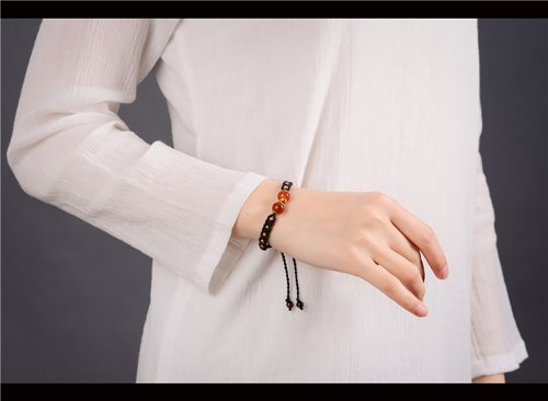 bracelet tressé agate rouge